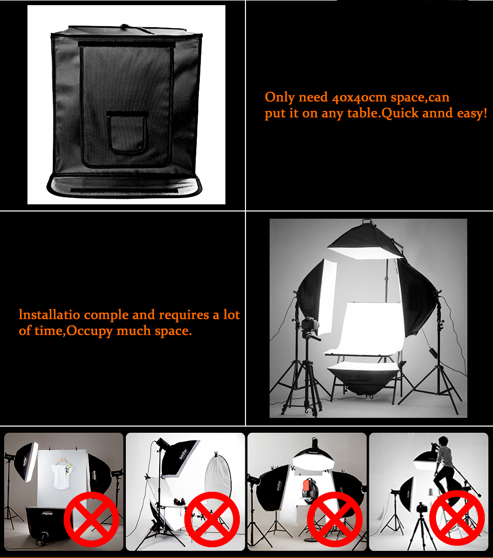 Travor F40 40*40cm studio accessoires led opvouwbare softbox light cube tent mini estudio fotogrfico studio fotoshoot soft box