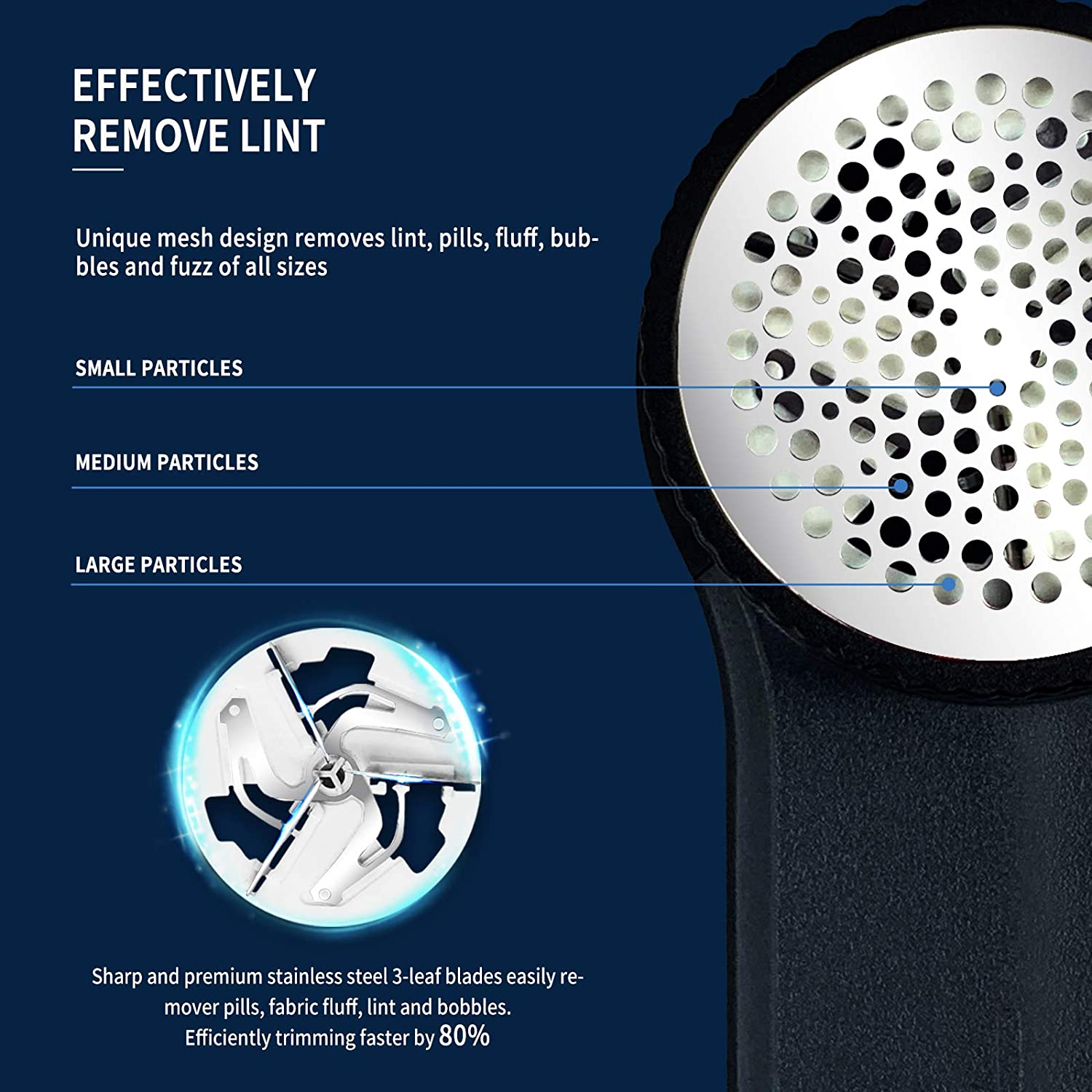 Fabric Shaver Lint Remover, MEOMY Sweater Defuzzer with 3-Speeds, 2 Replaceable Stainless Blades USB Rechargeable Operated Elect