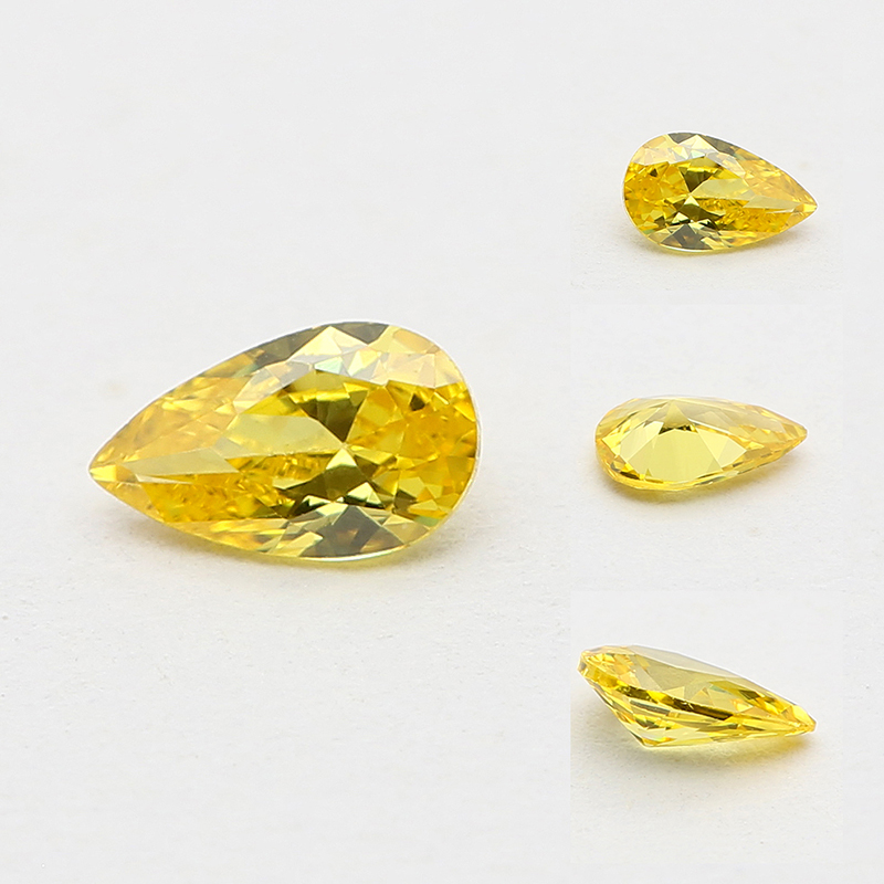 Wholesale factory price for jewelry making yellow color <strong>pear</strong> shape cubic <strong>zirconia</strong>