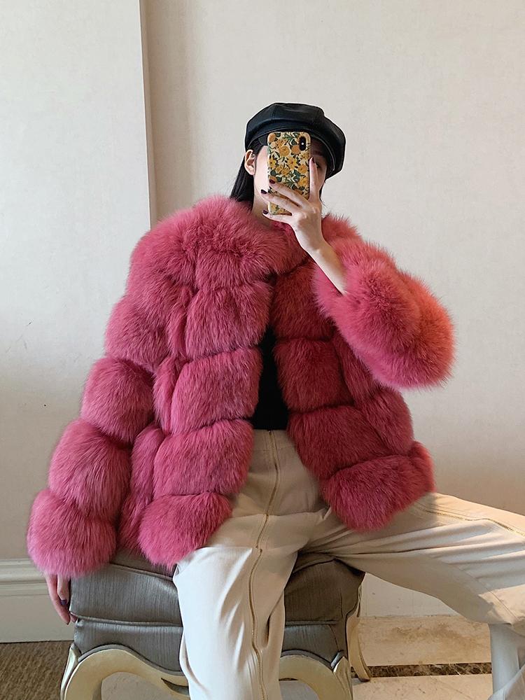 جديد عصري ضوء سيدة حمراء الفتيات معطف الفرو