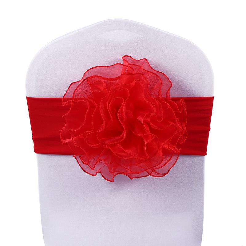 red big flower spandex tie back chair sash
