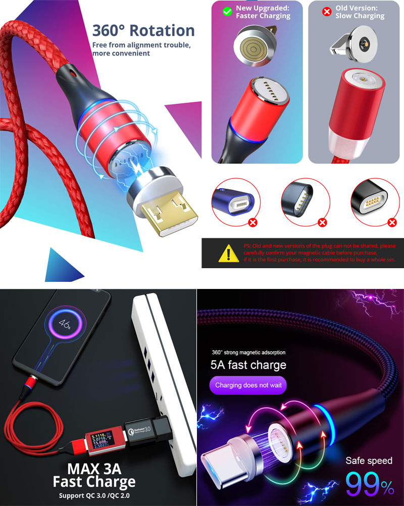 3A LED Magnetic Charging Cable Upgraded Nylon Braided type c Cable for mobile phones