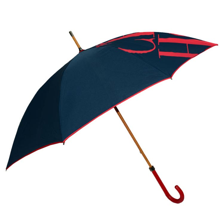 אדום עור מפוצל ידית חצי אוטומטי ישר Windproof מטרייה