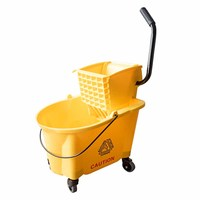36L volume Mop bucket with side press wringer, Squeezing bucket floor cleaning system with no slip wheels, Yellow