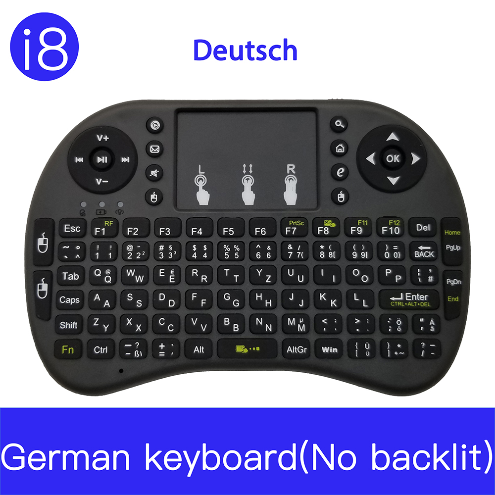 7 kleur backlit i8 Mini Wireless Keyboard 2.4ghz Engels Russisch 3 kleur Air Mouse met Touchpad Afstandsbediening Android TV Box