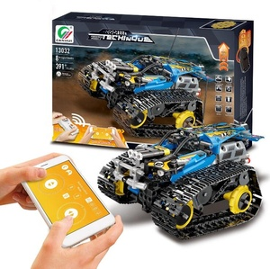 Mobile APP Remote Control 2.4G 4CH DIY ABS Plastic Building Blocks RC Track Racing Car With High Speed Crawler Toys For Kids