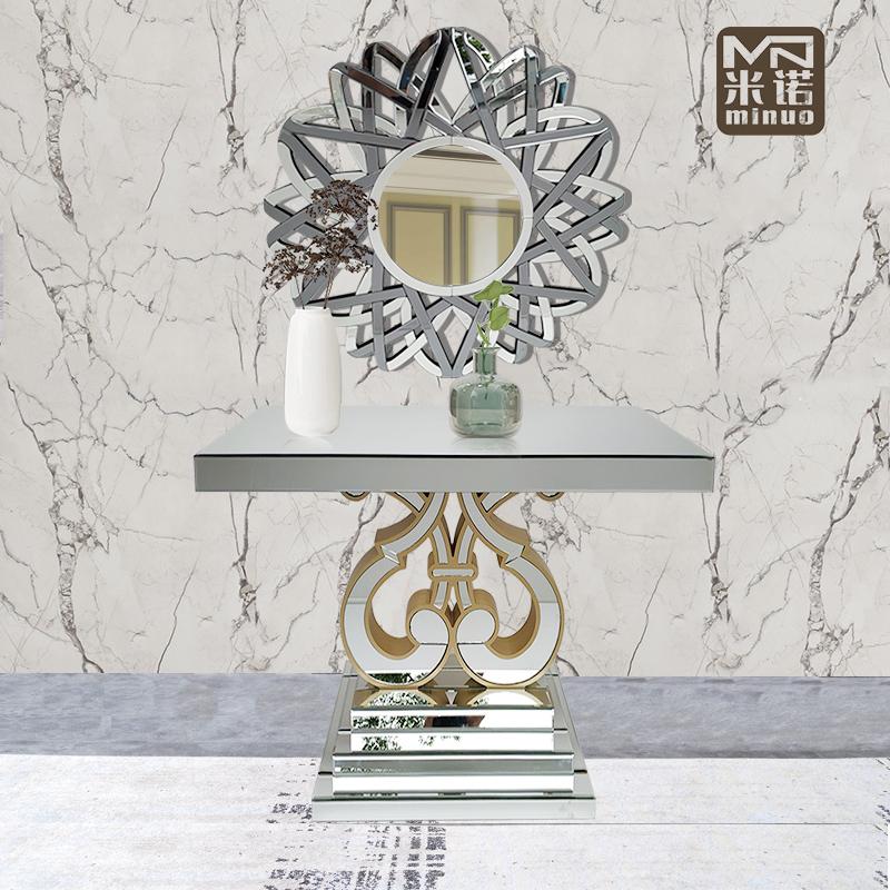Woonkamer Hal Tafel Gespiegeld Console Tafel Met Geometrische Muur Spiegel Voor Verkopen