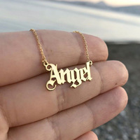 Hot Sale Girl's Gift Jewelry Fashion Alphabet Words 18k Gold Angel Necklace Women