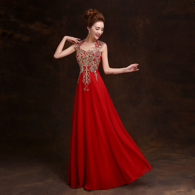 New design wholesale sexy long chiffon evening dress bride toast suit
