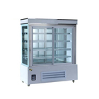 Cheap tall three sides glass vertical cake display cooler showcase refrigerated display cabinet
