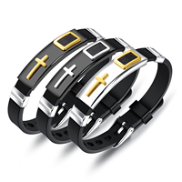 Wholesale Cross Christian Stainless Steel Wrist Strap Silicone Bracelet Mens
