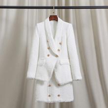 Блейзер; Элегантный костюм с юбкой из твида; Женский комплект 2 шт. с высокой талией и пуговицами; Conjunto Feminino(Китай)