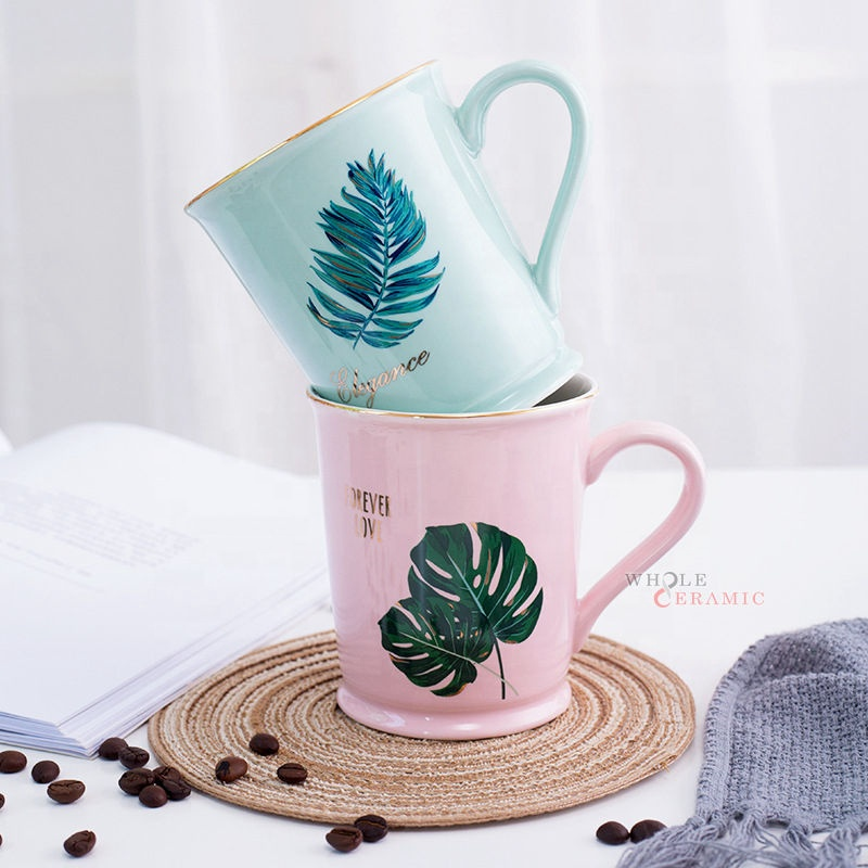 Hot Popular Top Quality Colorful Flamingo Ceramic Coffee Mug With Real Golden Rim Wholesale Manufacturer