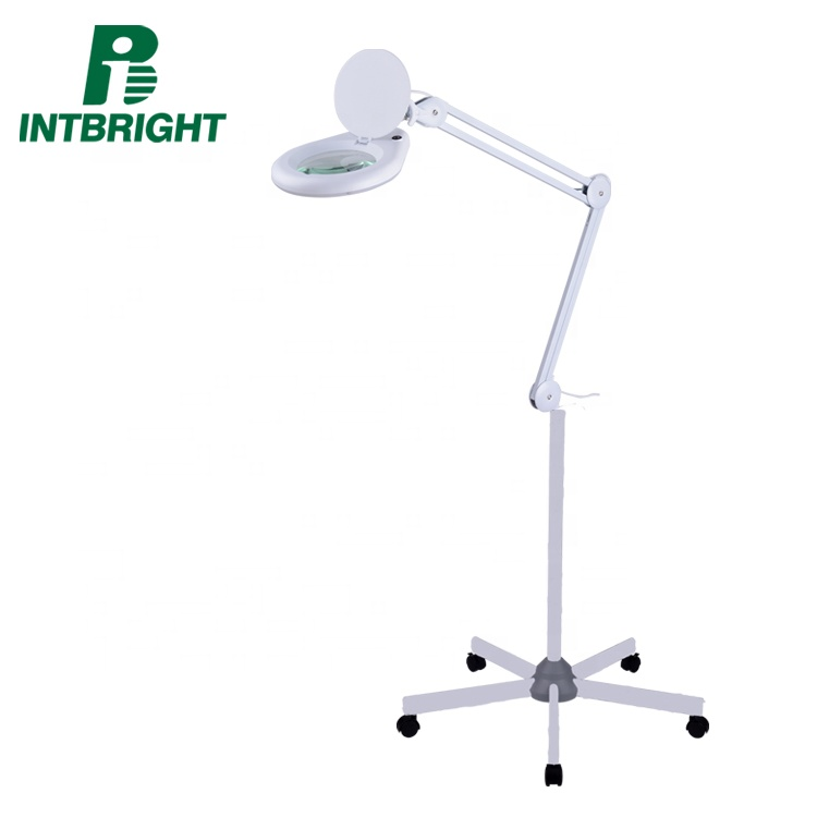 8066d2-4c Custom Adjustable Large illuminated Beauty 5X Floor Magnifier Lamp For Embroidery
