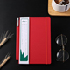 A6 fiber carbon PU red notebook custom logo with pen sleeve and elastic