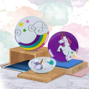 High grade eco friendly unicorn pattern dinner plate bowl sets prices unbreakable melamine kids dinner set