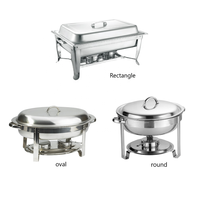 Restaurant Hotel Foodservice Rectangle Round Oval Economy Stainless Steel Buffet Chafer Display Food Warmer Chafing Dish