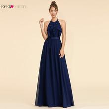 Ever Pretty Элегантные платья подружки невесты, A-Line Холтер оборками без рукавов Простой пляжный стиль шифоновые Свадебные платья для гостей 2020(Китай)