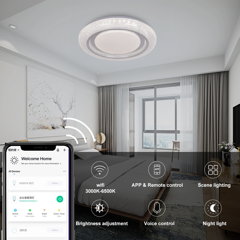 2020 Voice Control Fancy Creative Tuya Phone APP Control RGB LED Ceiling Lights Customized RoHS CE Certificate LED Ceiling Lamp