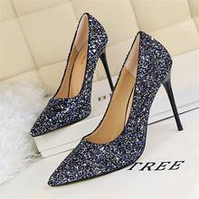LIN KING /женские туфли на высоком каблуке 9,5 см ; блестящие Роскошные туфли -лодочки для стриптиза; свадебные туфли на шпильке; цвет золотистый , ...(Китай)