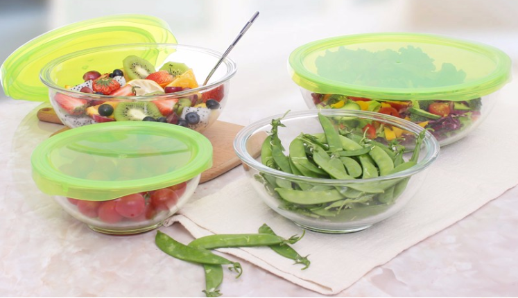 5 pieces mixing salad high borosilicate glass bowl