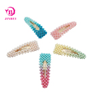 Customized Color Gradient Dyed Pearl Metal Barrette Hair Clips Korean Colorful Pearl Hairclip Women