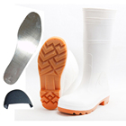 food industry anti oil anti smashing and piercing waterproof nitrile rubber sole white pvc safety boots men gumboots wholesale