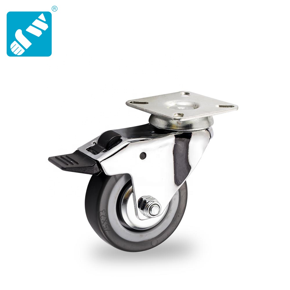 Casters 2 inches with Brake 4 Castor Wheels 50mm PU Heavy Duty Double Bearing Castors Swivel Wheel Rubber for Furniture Trolley 270KG Table Trolley Bed Workbench
