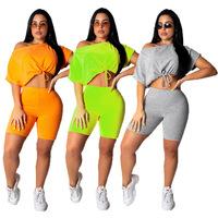 Fashion Women Drawstring Crop Top Biker Shorts 2 Piece Outfits Women Clothing Two Piece Set