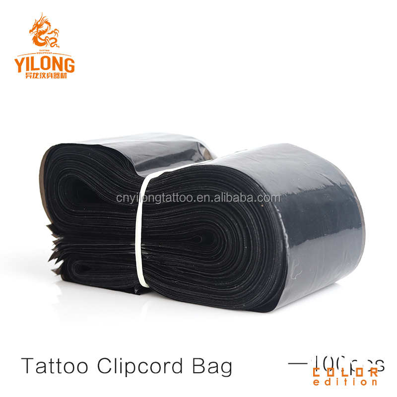 Good quality disposable black plastic clipcord cover for tattoo machine clipcord bag