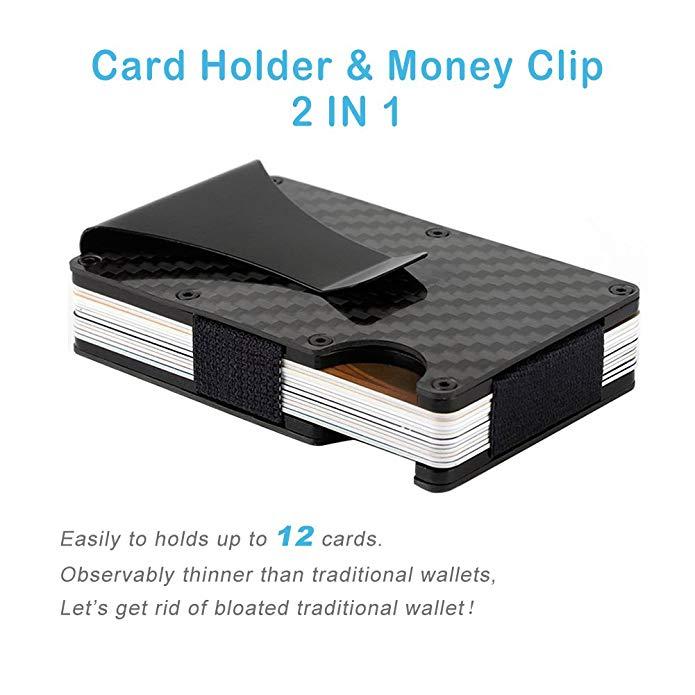 Бесплатный образец минималистичный ультра тонкий металлический бумажник тонкий RFID блокирующий чехол для кредитной карты для мужчин купить настоящий карбоновый держатель для карт