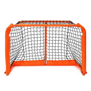 Hockey goal with folding steel frame and polyester net