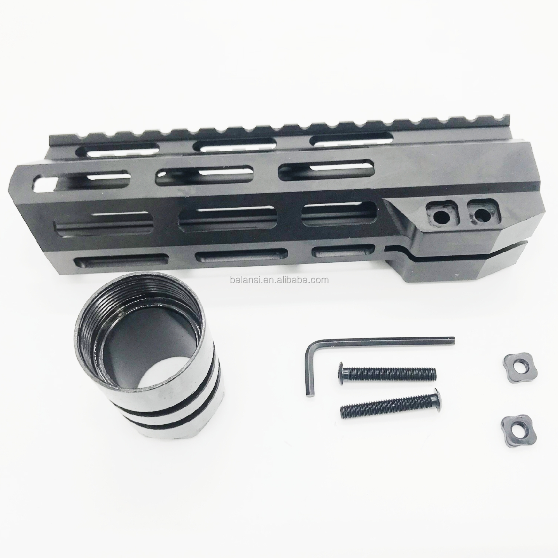 7 inch tactical .223 5.56 MLOK handguard Free Float Super Slim ar 15 Handguard Quad Rail steel Nut for AR 15 M4 M16, Black