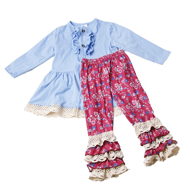 new fashion <strong>design</strong> <strong>girls</strong> dress top ruffle pants outfit children boutique winter clothes new year kids clothing set