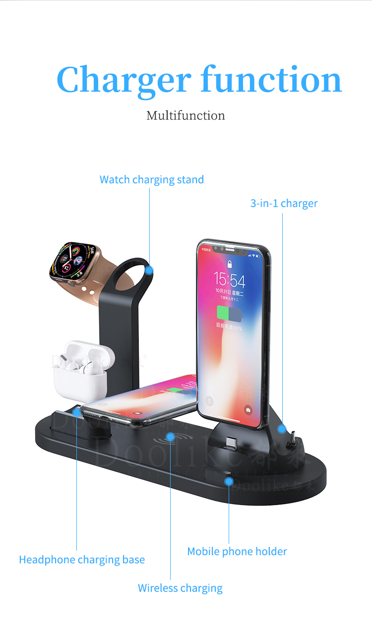 2019 New Arrival 3 in 1 qi Standard Wireless Charger Fast Charging For Mobile Phone For Airpod For Watch Kickstand