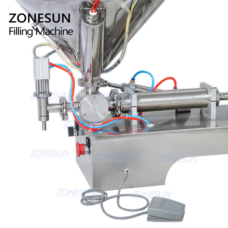 ZONESUN Semi-automatic Single Nozzle Cream Honey Chocolate Sauce Water Bottle Packaging Filling Machine with Heater Filler