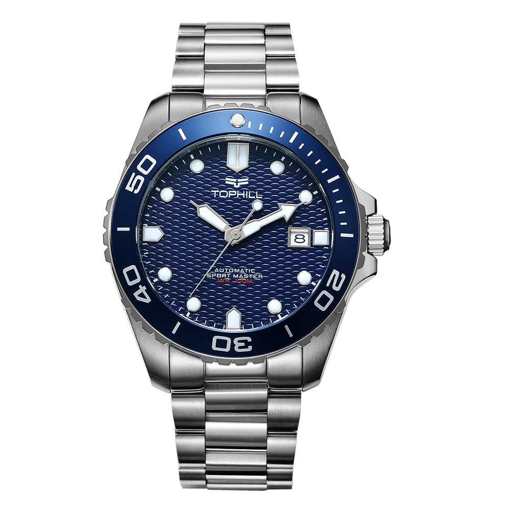 OEM Dive Watch Custom 316L Stainless Steel <strong>Case</strong> <strong>Ceramic</strong> Bezel Superluminova Dial 10 ATM Automatic Diver Watch