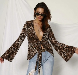 New Bohemian style ladies shirt leisure long sleeve blouse leopard grain cheetah print loose joker chiffon blouse for women