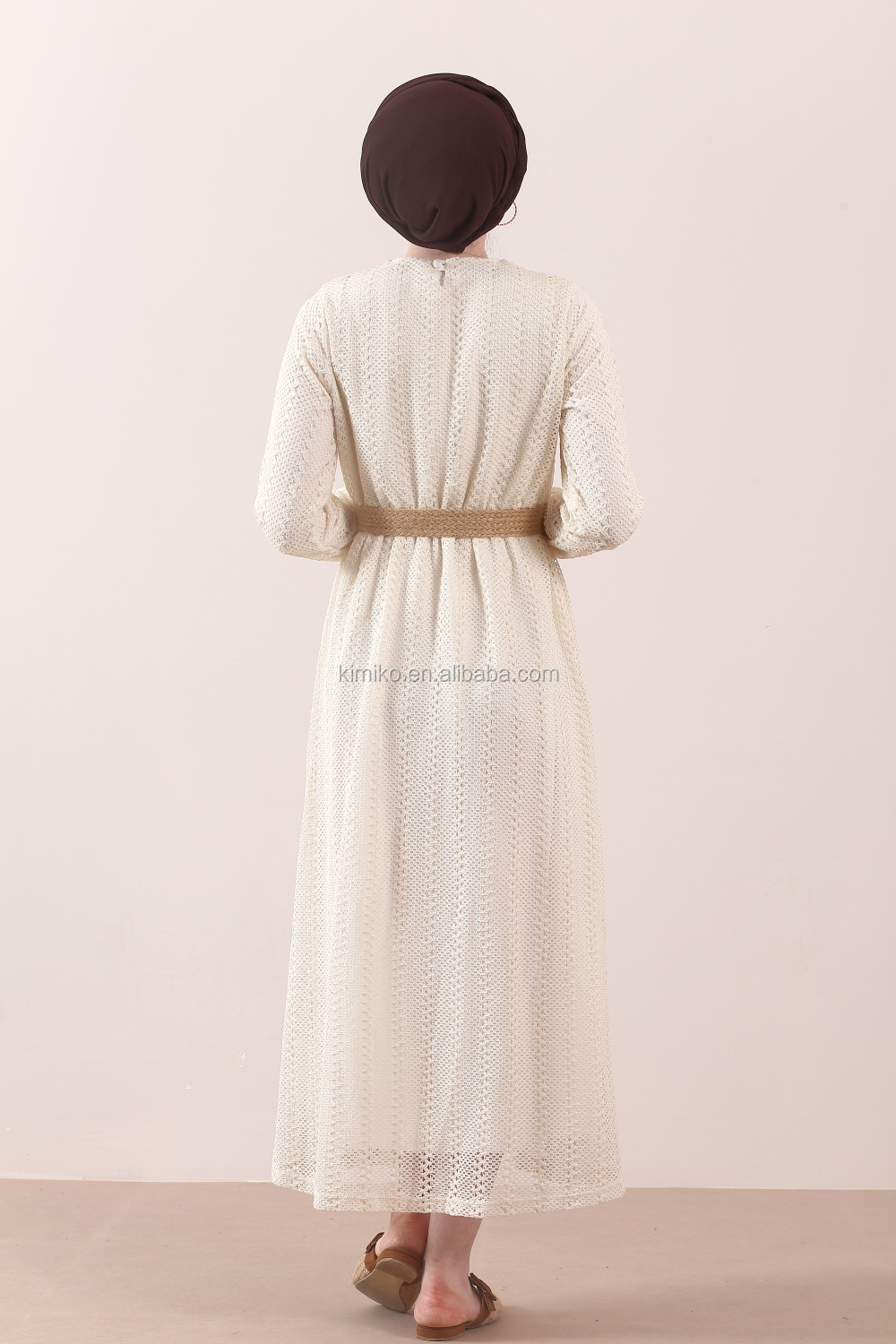 New Design Mesh Lace White Collect Waist Maxi Dress For Women