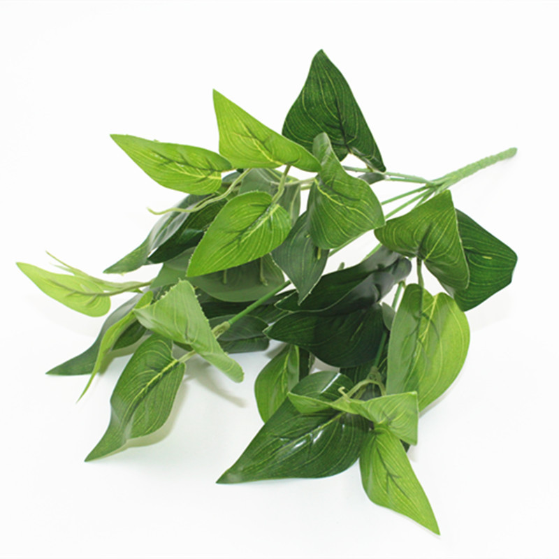 A-1031 Simulation Ornamental Plants 7 Forks <strong>Green</strong> <strong>Artificial</strong> Plant <strong>Leaf</strong> for Wedding Background Wall Home Decoration