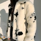 Fur Coat Fur Coat Sustainable Warm Cow Stripes Fashion Winter Real Faux Fur Coat For Women