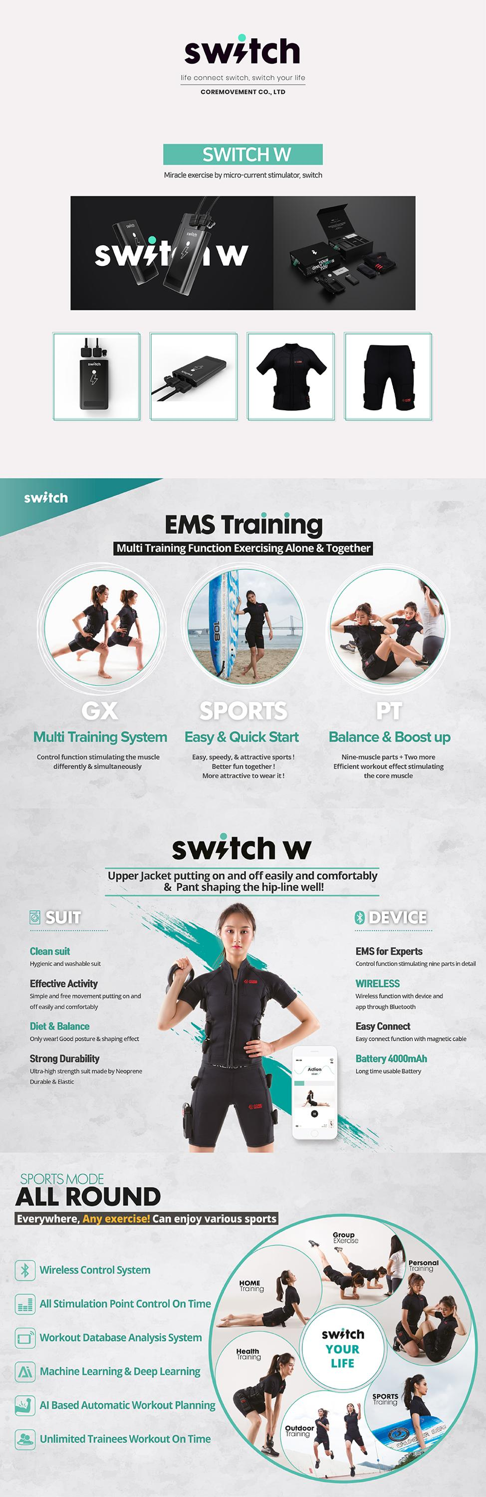 [SWITCH W] High Quality Korea Ems Training Suit for Personal Group Workout Machine Full Body Ems Suit Made in Korea
