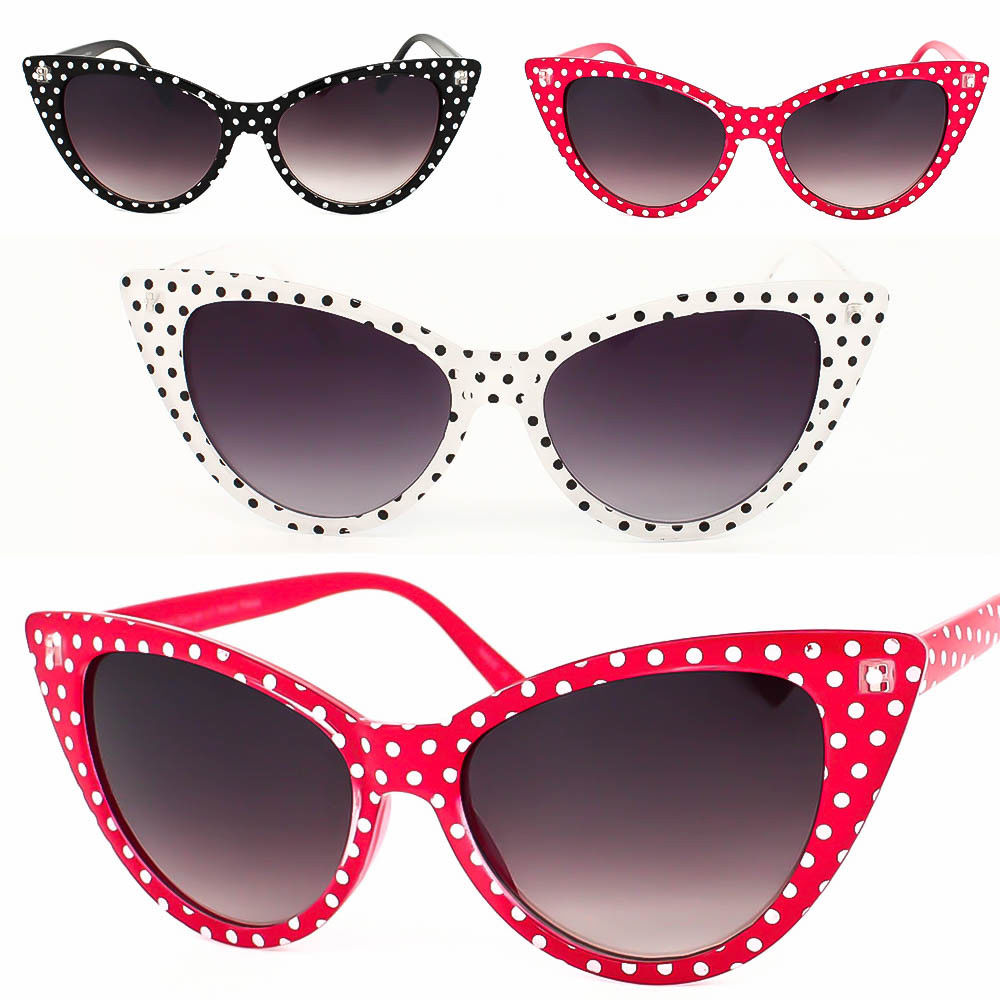 Wholesale Dot Cat Eye Women Sunglasses Retro Vintage Style 50s 60s Red Black White фото