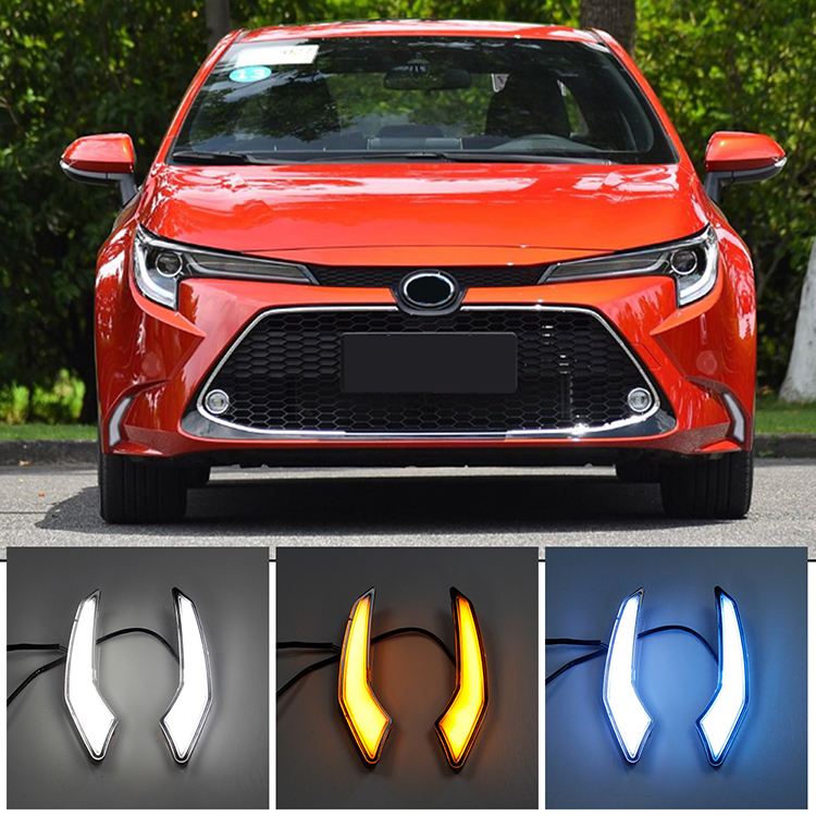 Keen Waterdichte 12V Voor Auto 2019 2020 Toyota Corolla Levin Led Drl Dagrijverlichting Wit Amber Flow Blauw fog Lamp Cover