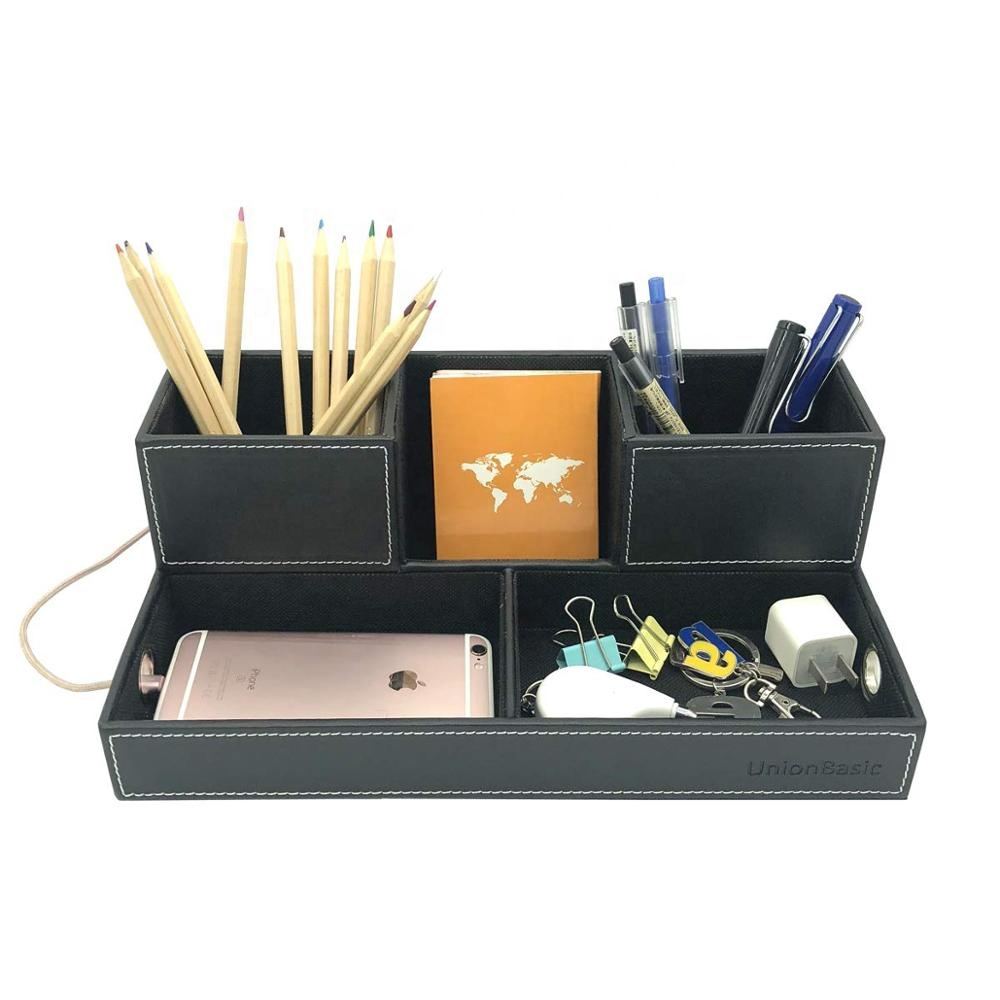 Factory Wholesale Leather Charge Box Station Charging Station Desk Organizer