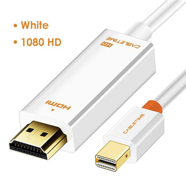 CABLETIME 2020 Новое поступление Thunderbolt 4K Mini DisplayPort Адаптер DP к HDMI DP кабель для 1080P ТВ компьютер MacBook C056(Китай)