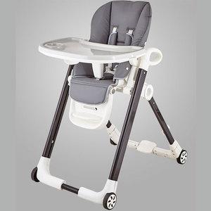 OEM high quality silver 2 wheel aluminium tube plastic baby chair feeding