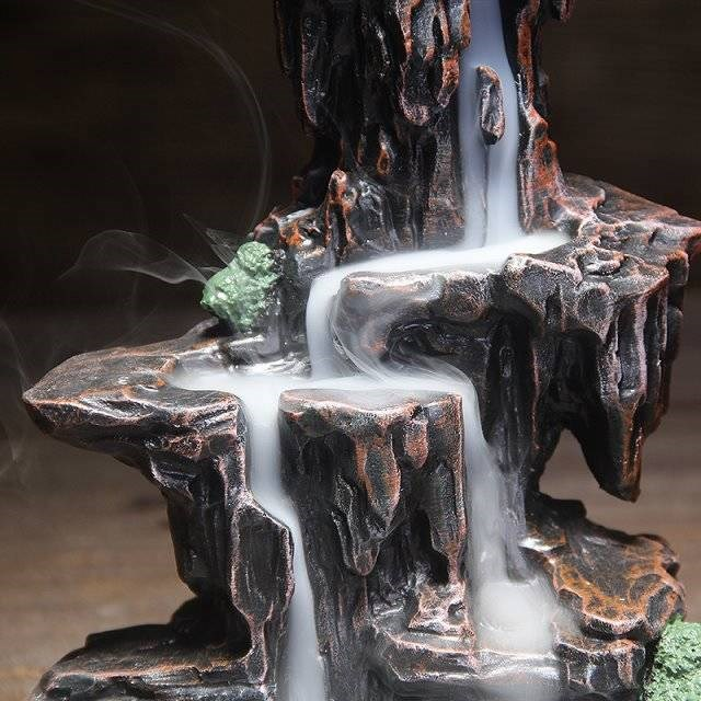 10 Cones Mountains River Waterfall Incense Burner Fountain Backflow Aroma Smoke Censer Holder Office Home Unique Crafts