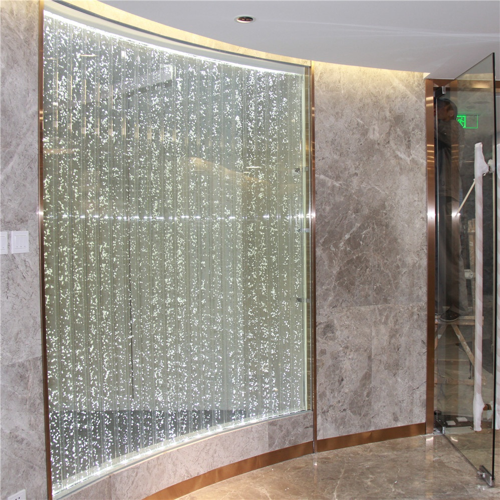 Custom conference room partition wall with water feature design
