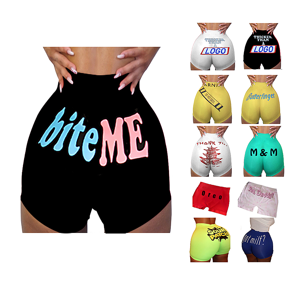 Summer Wholesale Custom yoga snack skittles Sexy Elasticity Snicker Booty Print Adult Women Shorts
